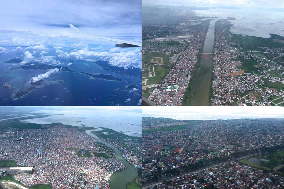 成田から4時間でフィリピン上空に。