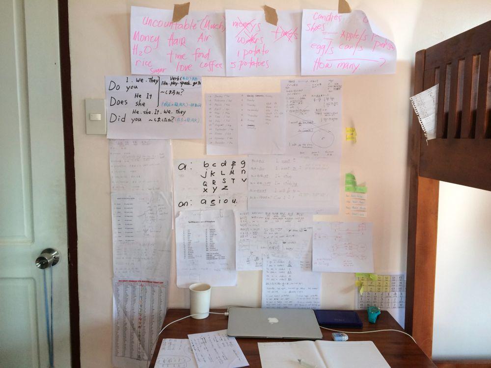 私の机の前は紙でいっぱい