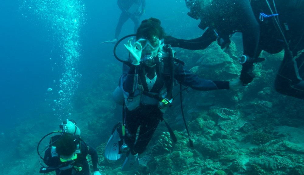 海底でピースができるほど余裕ができました